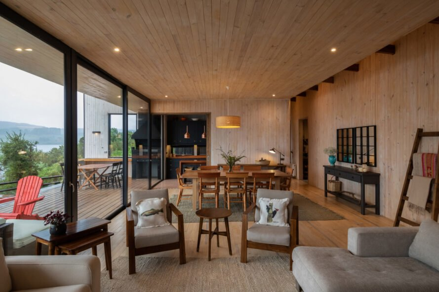 light wood-lined interiors with tan furnishings