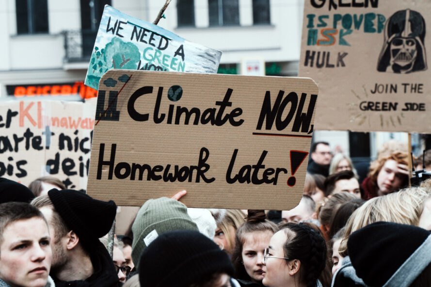 students protesting climate change
