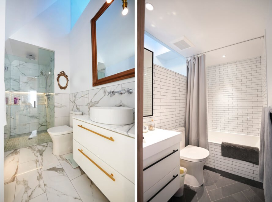 On the left, marble bathroom. On the right, white and black bathroom.