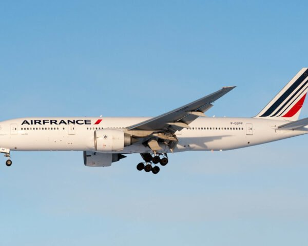 AirFrance plane flying in blue skies