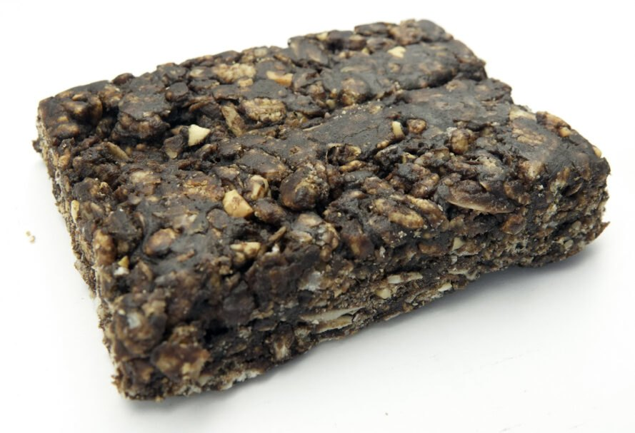 close-up of dark chocolate banana nutrition bar