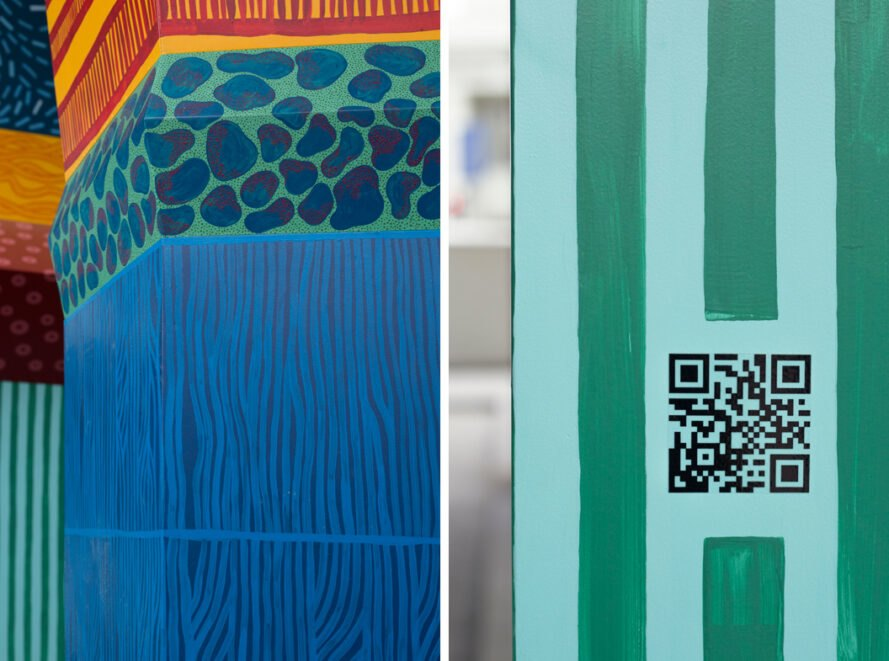 close-up of QR code on a totem pole