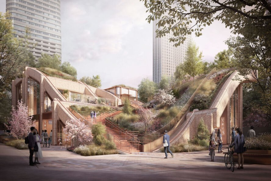 Heatherwick Studio breaks ground on undulating plant-covered development in the heart of Tokyo