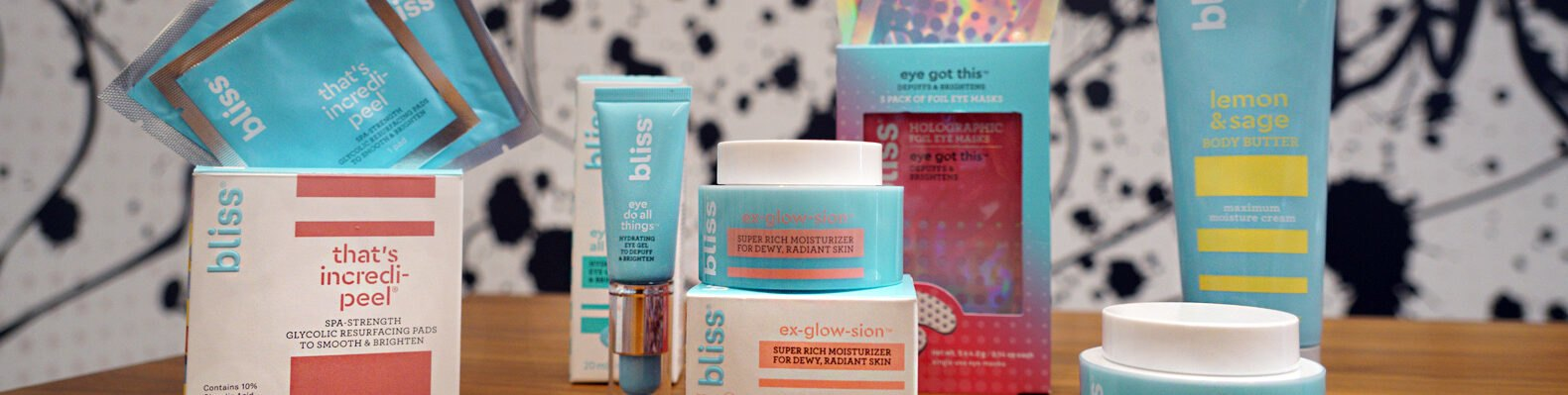skincare products in pink and blue packages