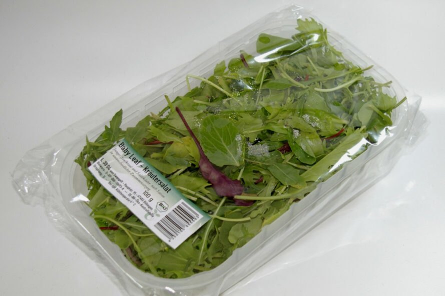 spinach inside bioplastic container