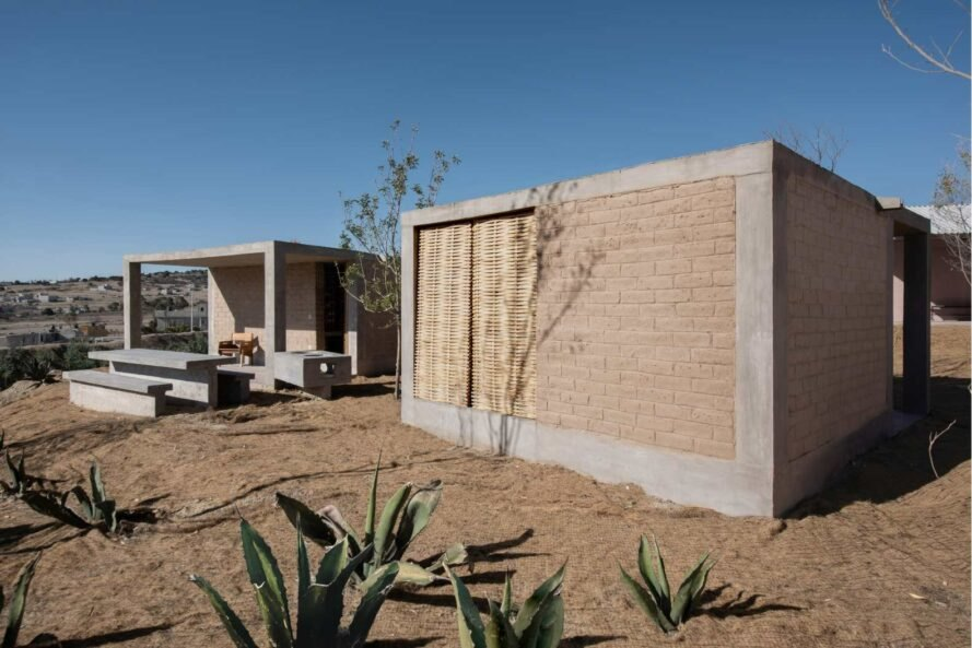 home with concrete frames and adobe bricks