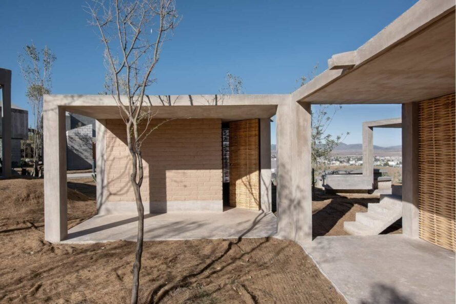 a concrete framed home with adobe walls