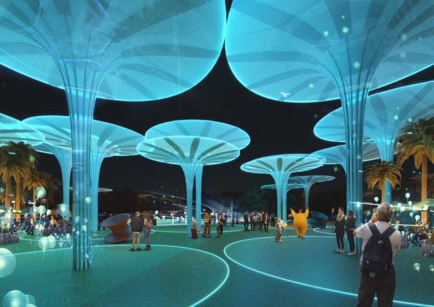 rendering of tall round sculptures lit up at night