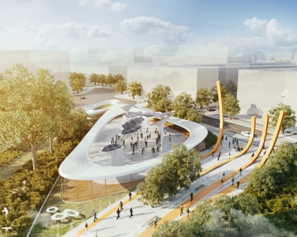 rendering of sculptures topped with solar panels