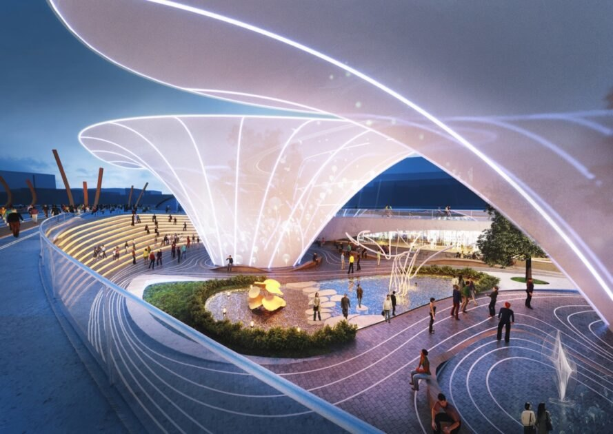 rendering of large white sculptures lit up at night