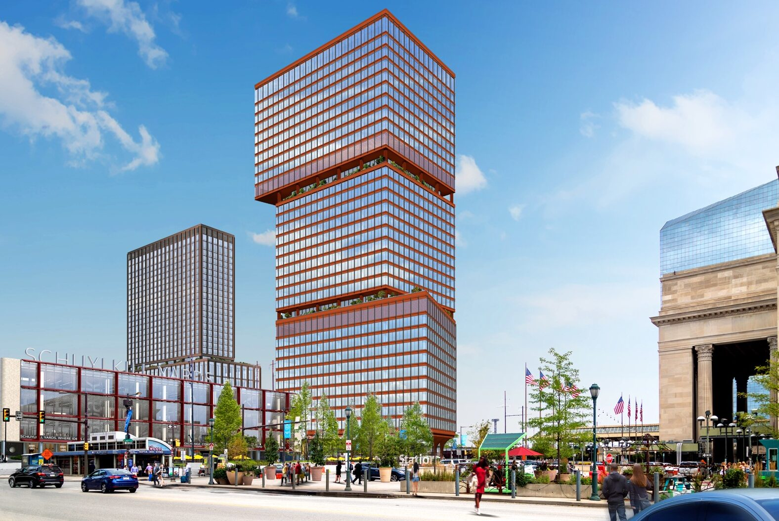rendering of segmented red tower