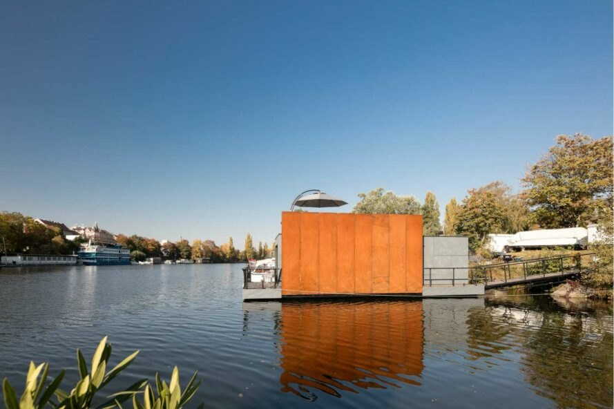 houseboat with wood and cement facade