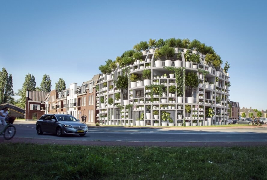 rendering of curved white building covered in plants