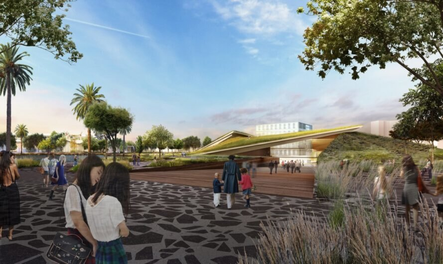 rendering of people outside of green-roofed museum