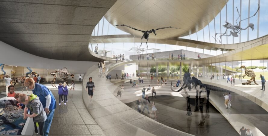 rendering of people inside a natural history museum