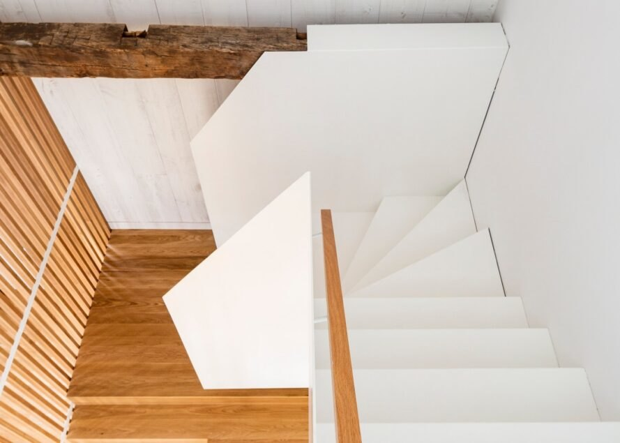 aerial shot of stairs