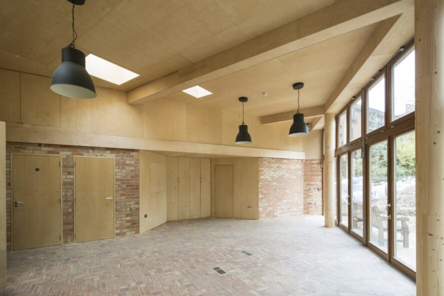 interior with brick walls and wood ceilings