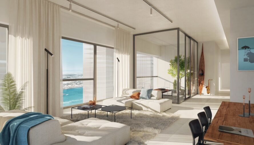 rendering of apartment room with white sofa and large windows with waterfront views