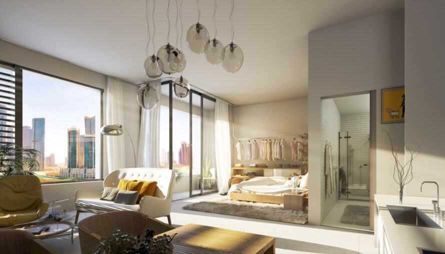 rendering of studio apartment with large windows