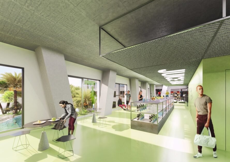 rendering of a juice bar with green walls and small cafe tables