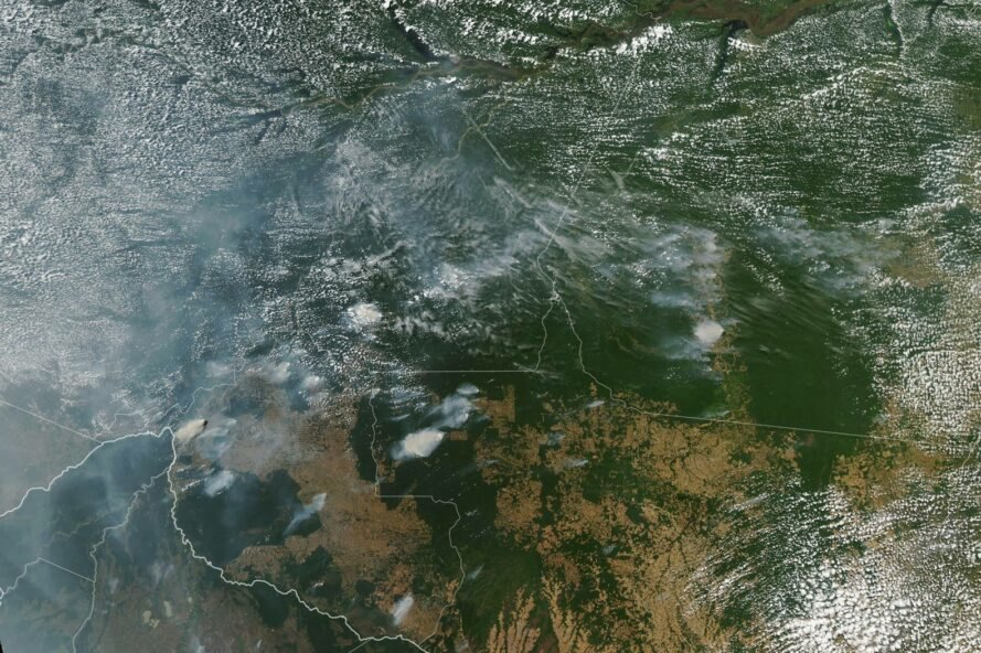 satellite view from space of fires in the Amazon rainforest