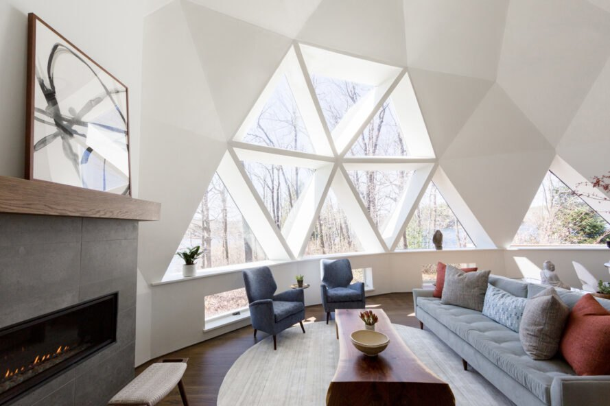white geodesic dome interior with triangle windows