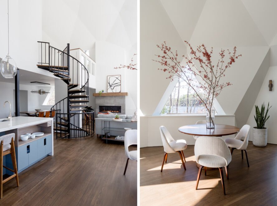 spiral staircase and small round dining table inside a geodesic dome