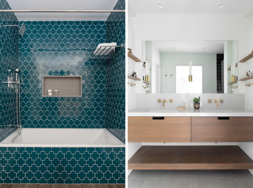bathroom with teal tiled shower and white and wood sink