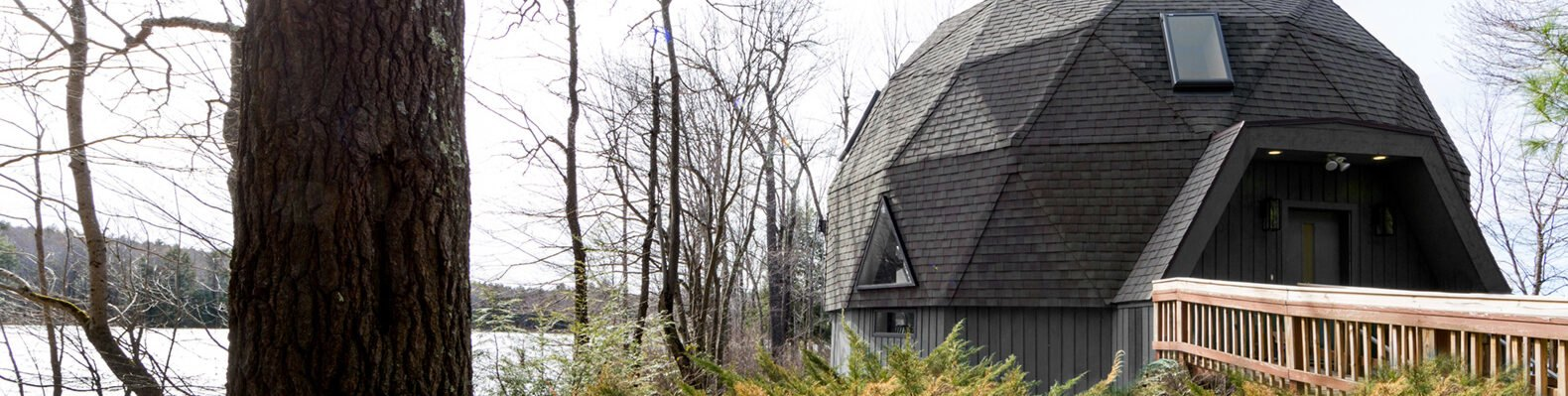 dark gray geodesic home by a lake