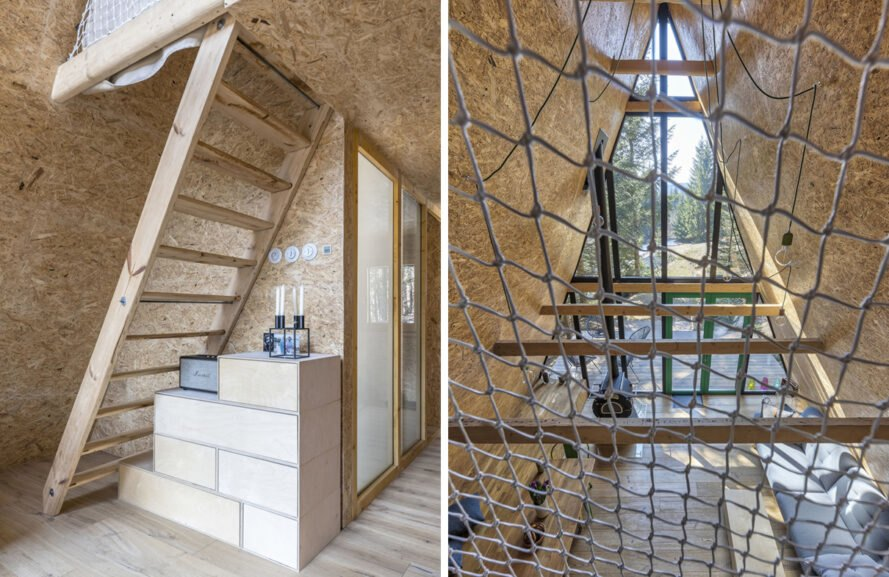 wood stairs leading to loft with netting