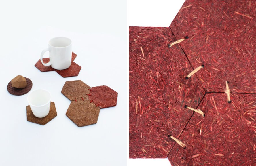 drink coasters made from pine needles