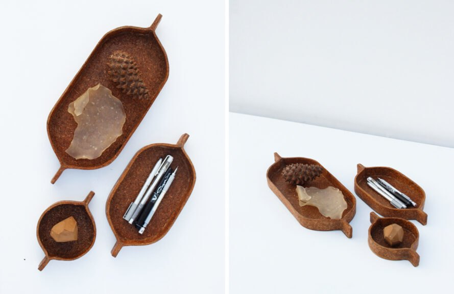 small object trays made from pine needles