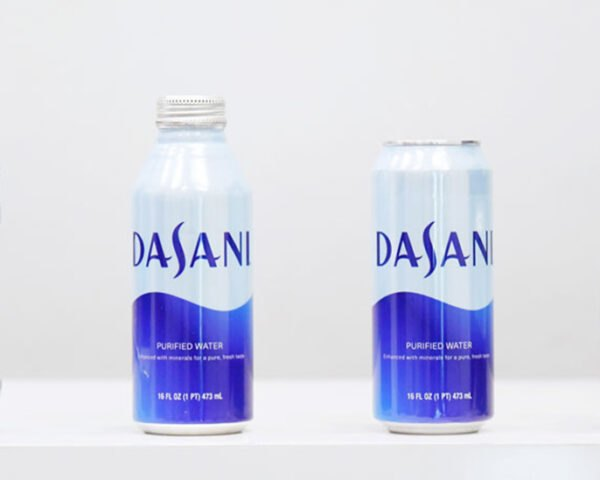 plastic bottle, aluminum bottle and two aluminum cans of Dasani water