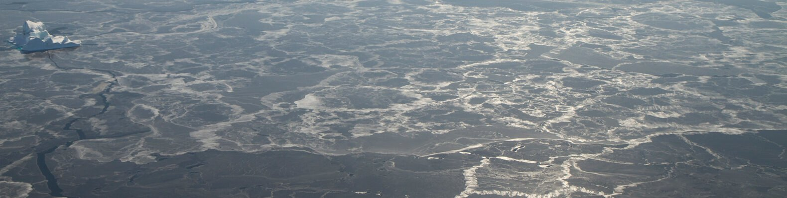 aerial view of thin ice near Greenland