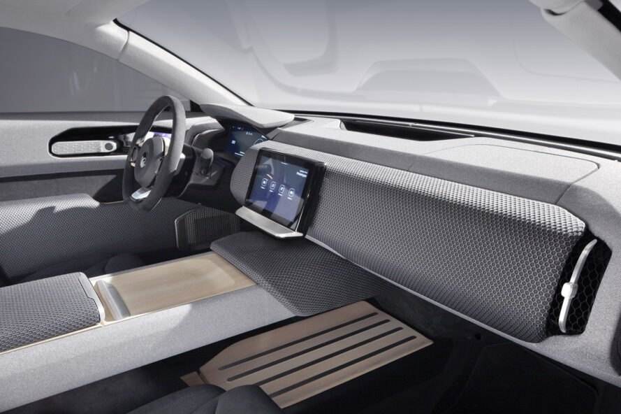 gray interior with wood accents of solar-powered car