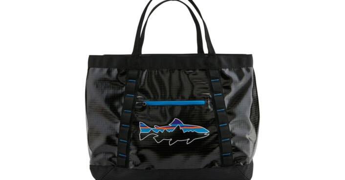 photo of Patagonias Black Hole Bags are made from recycled plastic bottles image