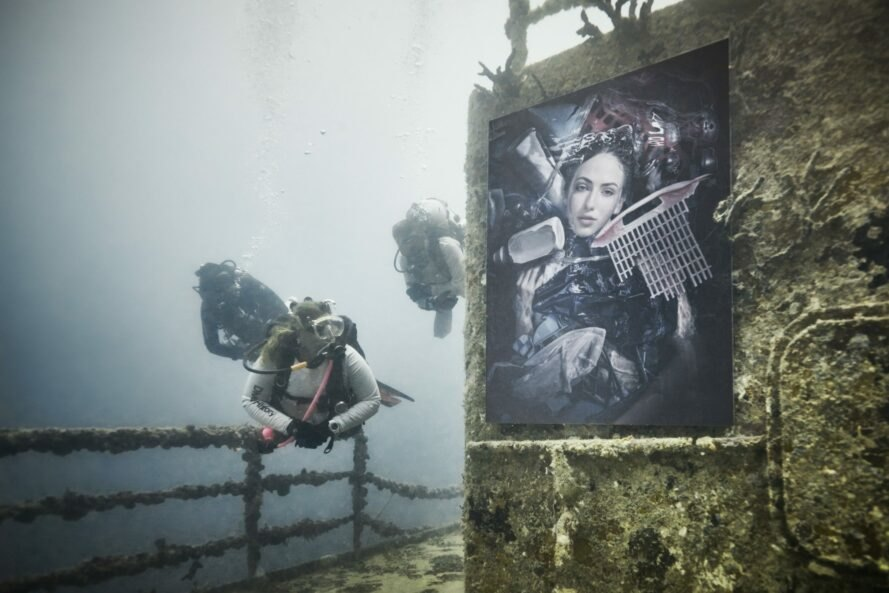 diver swimming past an underwater portrait