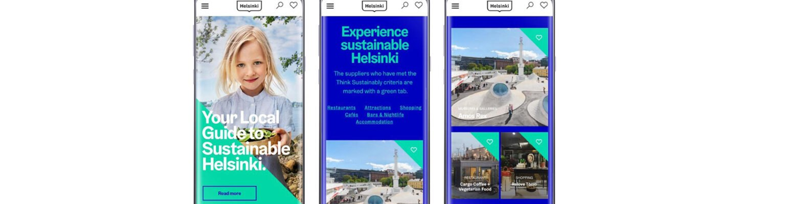 Think Sustainably homepage on a smartphone