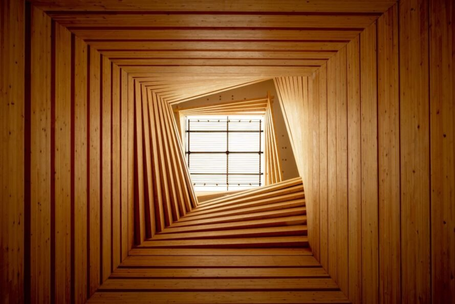 timber tunnel framing a skylight