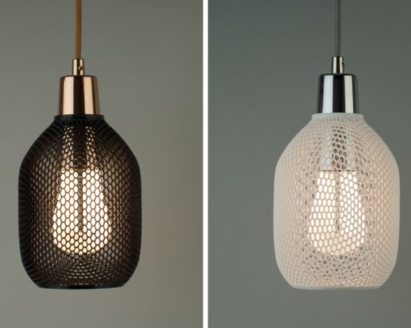 hive shade lamp in a dark and white color
