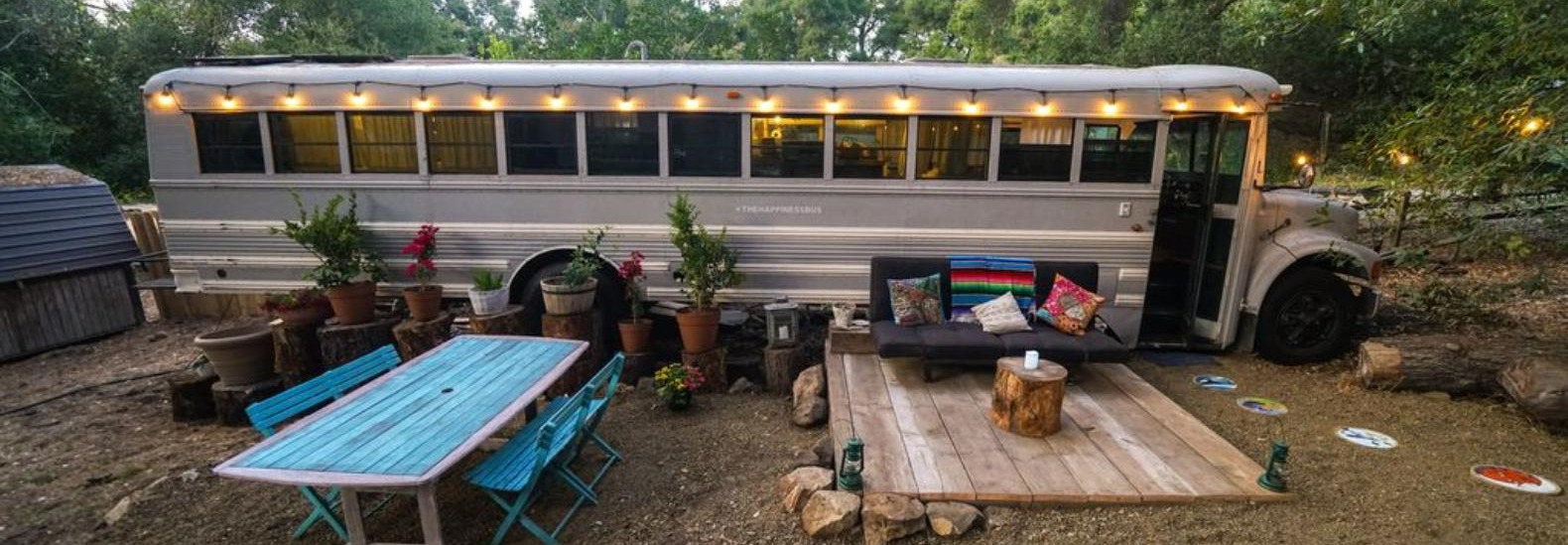 A converted school bus is now a glamping retreat in California