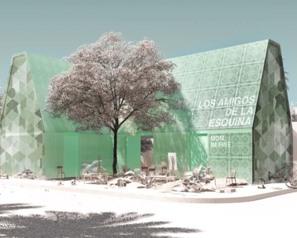 rendering of green school made of plastic