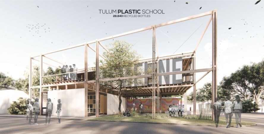 rendering of school building made from wood and plastic