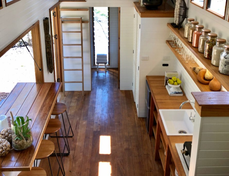 interior of tiny home with wooden floors