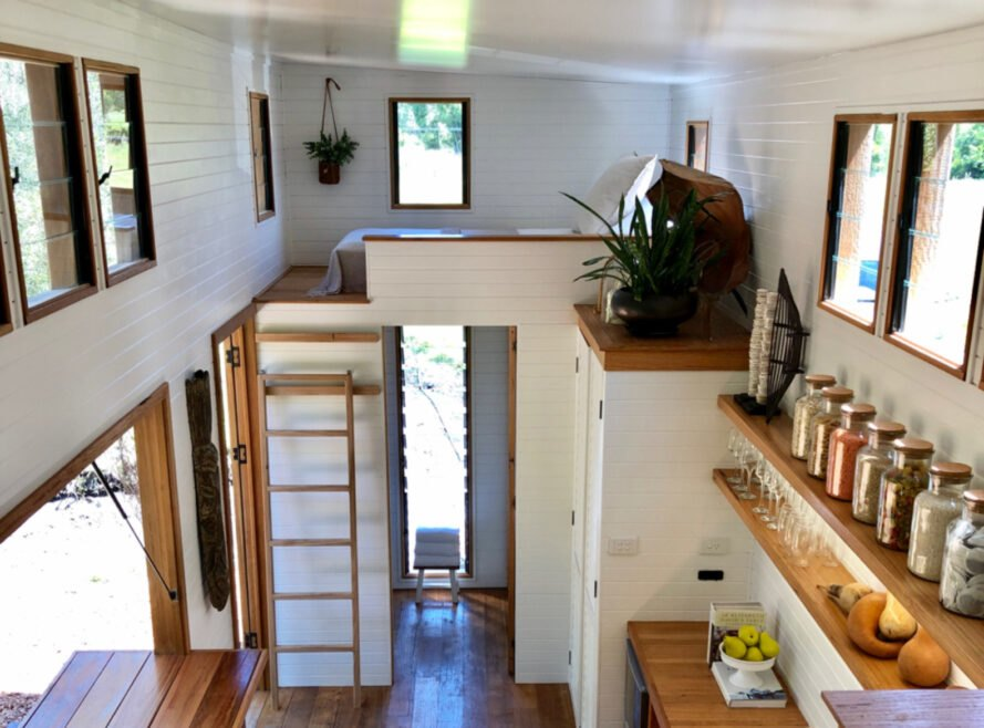 view of sleeping loft inside tiny home