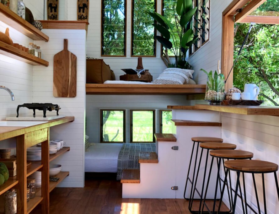 interior of tiny home with bar area