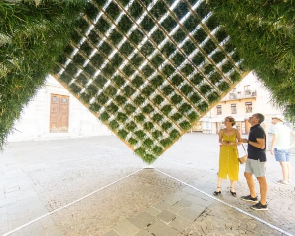 inverted structure with green walls