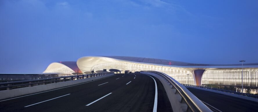 airport exterior with curving rooflines