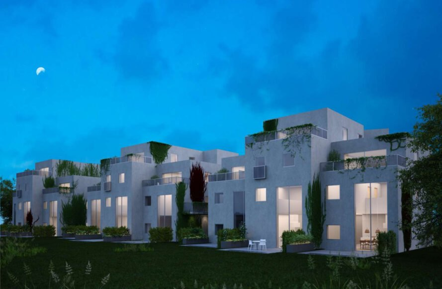 rendering of white block of apartments with green walls