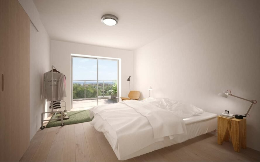 rendering of large white bed in room with sliding glass doors
